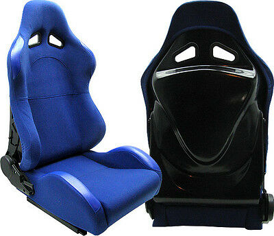 New 2 Blue Cloth + Black Back Cover Racing Seats Reclinable W/ Slider Ford ****