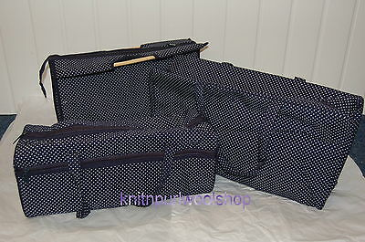 Knitting & Craft Bags - 3 SIZES AVAILABLE. NAVY WITH WHITE SPOT Design