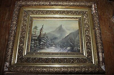 VINTAGE ANTIQUE OIL PAINTING WINTER SCENE