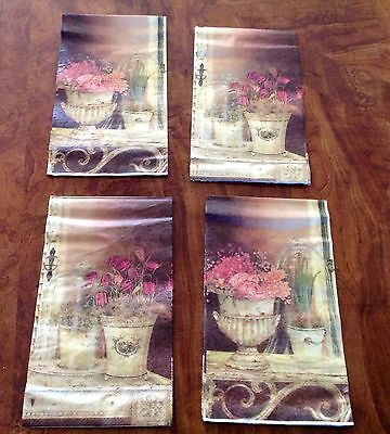 ~LOT#P NEW 4 FLOWERS PAPER NAPKIN 2ND IMPERFECT DECOUPAGE ALTERED ART CRAFT CARD