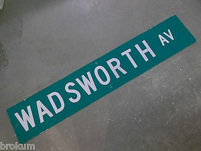 "Large Original Wadsworth Av Street Sign 48"" X 9"" White Lettering On Green"