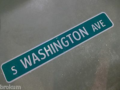 "Large Original S Washington Ave Street Sign 48"" X 8"" White Lettering On Green"