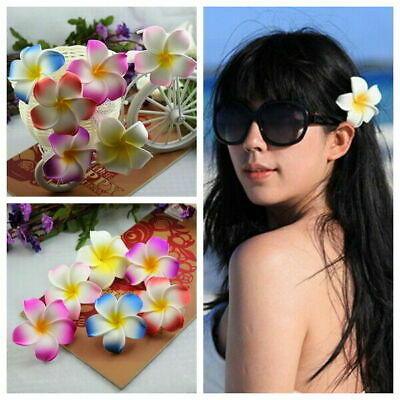 2 PCS 6.5cm Hawaiian Frangipani Plumeria Foam Head Flower Party Beach Hair Clip