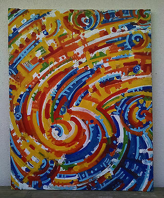 Absolutely Stunning, Very Large Signed Vintage Abstract Painting, 1993
