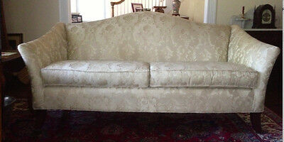 Stunning Chippendale Style Camelback Sofa Ivory Damask w/ Mahogany Feet, Pillows