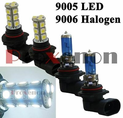 Combo 9006-100W-Halogen 9005-LED 18-SMD Headlight 2 Light Bulb #e30 Hi/Lo Beam