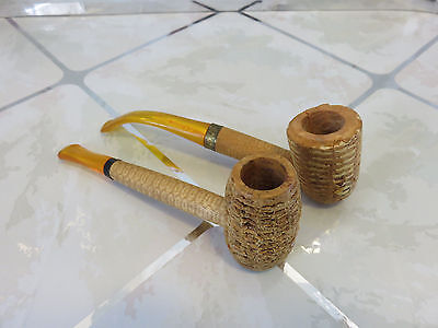Vintage Set of Two Missouri Meerschaum Tobacco Corn Cob Pipes Never Used