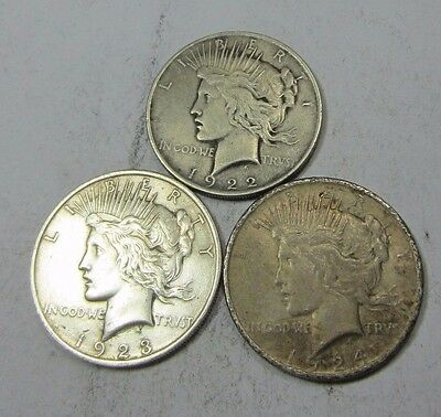 1922+1923+1924 Peace Dollar Lot // 3 COINS // 90% Silver (PL60)