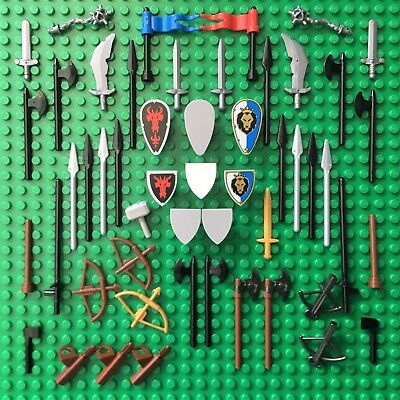 LEGO NEW CASTLE WEAPON SPARES Knights Spear Shield Gold Sword Shield  Kingdoms