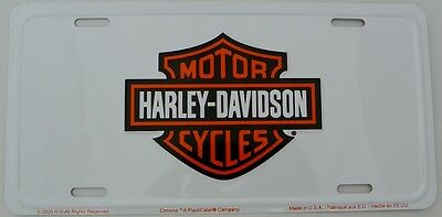 Harley Davidson Bar & Shield Embossed Metal Car License Plate Auto Tag (White)