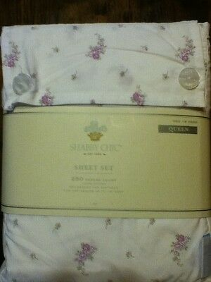 REDUCED Simply Shabby Chic QUEEN Sheet Set English Lavender Rose Purple Rosebuds