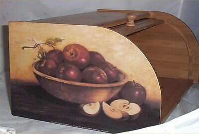 Apple Bread Box Bamboo Wood Country Home Decor Kitchen Chefs New