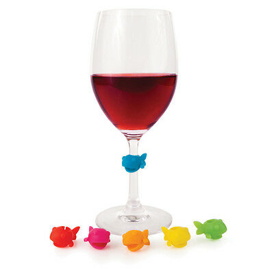 True Fabrications Silicone Guppy Wine Glass Charms / Drink Markers - Set of 6