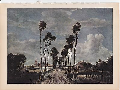 """1939 Vintage /""""THE AVENUE/"""" by HOBBEMA TALL TREES WOW Color Art Plate Lithograph"""
