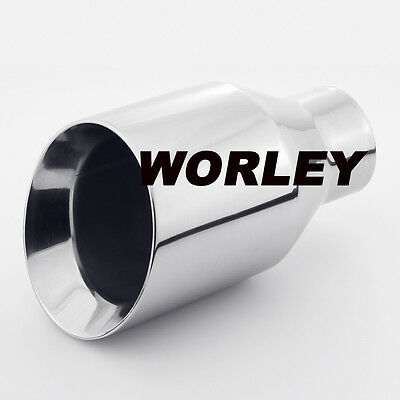 "2.3"" inlet Stainless Steel  angle cut round Exhaust Tip 4"" outlet 7"" long"