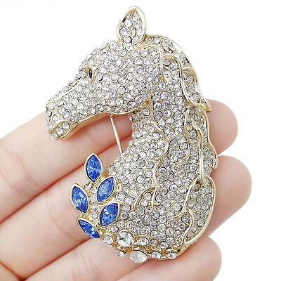 Hot Selling Blue Austrian Crystal Steed Horse Head Brooch Pin Gold Tone Gift