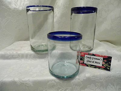 Mexican Hand Blown Cobalt Blue Rim Glasses Tumbler Glass Set of Three