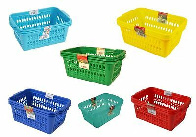 Set of 3 Medium Plastic Handy Storage Basket Kitchen Home Office Various Colours