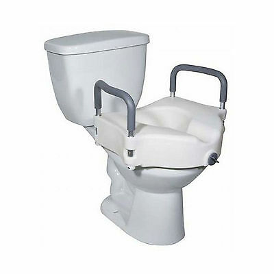 5 inch Elevated Raised Toilet Seat with Removable Arms Toileting Disability Aid