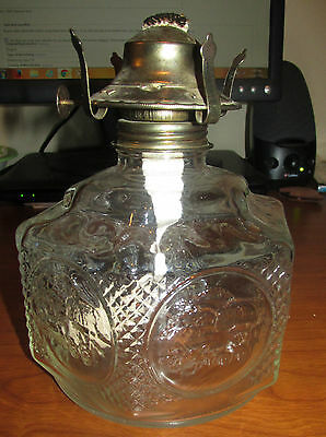 Vintage LAMPLIGHT FARMS Clear Glass OIL LAMP BASE Horse Buggy Country WICK