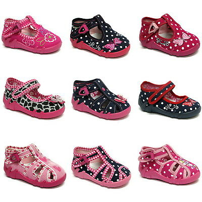 Girls canvas shoes slippers sandals trainers baby kids toddler  3 - 7.5UK NEW