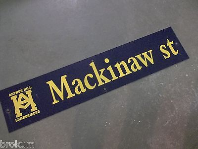 "Vintage MACKINAW st ARTHUR HILL LUMBERJACKS Sign 42"" X 9"" -GOLD on NAVY Ground"