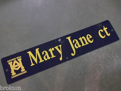 "Vintage ARTHUR HILL / MARY JANE ct STREET SIGN 42"" X 9"" GOLD LETTERING ON BLUE"