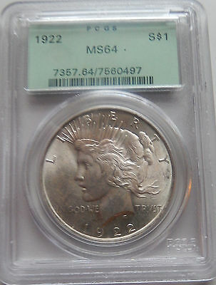 "1922 Peace Dollar - PCGS - MS 64-  ""Green Holder"""