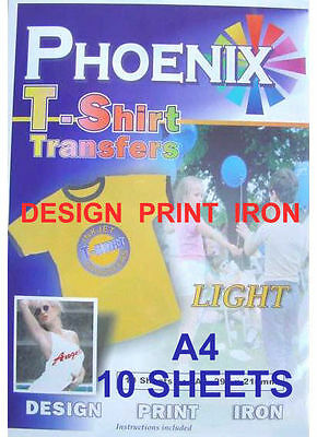 IRON ON T TEE Shirt LIGHT Transfer Paper A4 10 Sheets Phoenix Brand