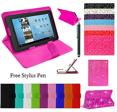 """Plain/Bling 7"""",10"""",10.1"""" UNIVERSAL STAND LEATHER COVER FOR ANDROID TABLET PC TAB"""
