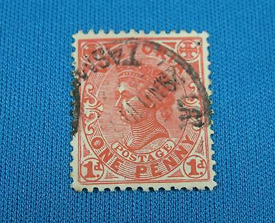 Victoria Australia One Penny Orange Postage 1d Stamp Post Cancelled Used