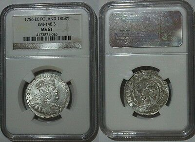 1756 EC Poland silver ORT August III  NGC MS 61