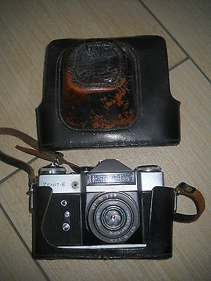 Russian Zenit-E with Industar-50-2 lens 35-mm film camera M42 and Case