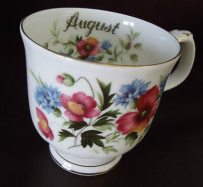 ROYAL ALBERT POPPY FLOWER OF THE MONTH - AUGUEST -TEA COFFEE CUP