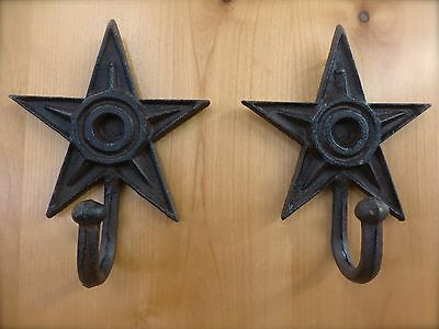 "2 LARGE 7"" BROWN STAR WALL HOOKS ANTIQUE-STYLE CAST IRON western rustic hat coat"