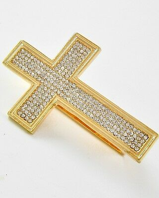 LARGE WIDE THREE FINGER RING CLEAR STONE CROSS GOLD TONE FASHION STATEMENT