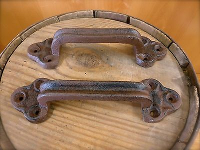 2 BROWN ANTIQUE-STYLE CAST IRON LARGE DOOR PULLS HANDLES rustic drawer gate barn