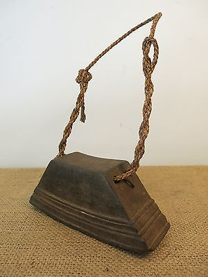 Vtg Traditional S. E. Asian Hand Carved Wooden Tribal Village Cowbell ~ Cambodia