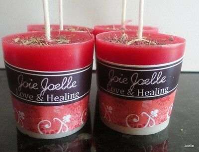 Love & Healing Red White  Beeswax Spell Votive Candles 2 pack