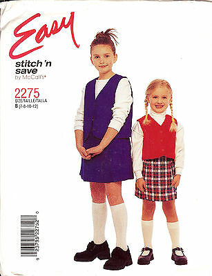 GIRLS EASY LINED VEST & SKORT PATTERN McCALL'S 2275 SIZE 3 TO 6