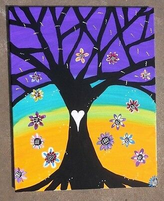 Tree of Life  Spring Flowers Original  Painting  Mexican FOLK  Art   16 x 20