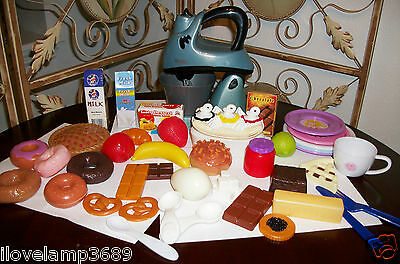 KENMORE Toy Mixer and BAKING Play Food Tea Set Donuts Eggs Pie Milk Kitchen