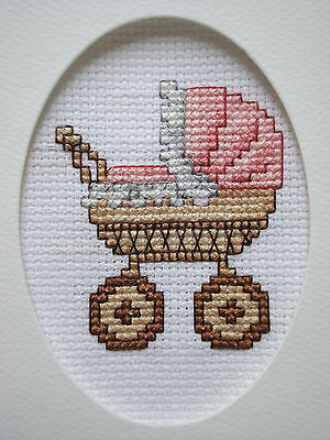 """COMPLETED FINISHED CROSS STITCH CARD """"IT'S A GIRL 1"""""""