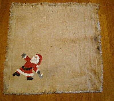 "SANTA with CANDLESTICK Handpainted Candle Mat 10"" square, Christmas Folk Art"