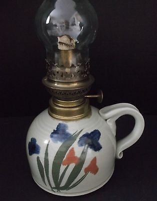 VINTAGE ARTISAN MADE POTTERY HURRICANE OIL LAMP BASE SIGNED DAVID POLLOCK