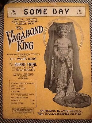 Vintage 1925 Someday from The Vagabond King Sheet Music