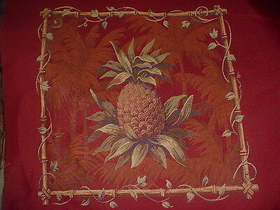 4 Panels 22 X 21 WINE PINEAPPLES TAPESTRY  UPHOLSTERY, CRAFT FABRIC
