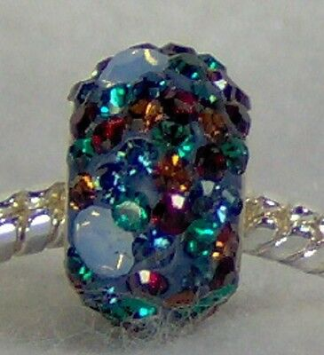 AUSTRIAN CRYSTAL 925 Sterling Silver Bead MULTI COLOR W/BITS OF OPAL fits all