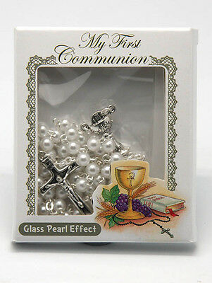 First Communion Rosary beads White Holy communion gift