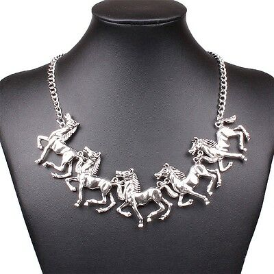 Silver Tone Zodiac Year Of The Horse Charm Animal Link Chain Charm Necklace